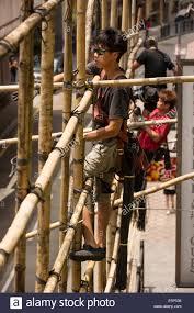 Hong Kong Arbeitskr Fte Binden Bambus Zusammen Um Ein Ger St Zu