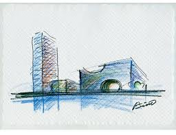 modern architecture sketch. A Pritzker Prize\u2013winning Architect Carves Tunnels Through Concrete-and-glass Box To Create Bold Theater Complex For Burgeoning District In Shanghai. Modern Architecture Sketch