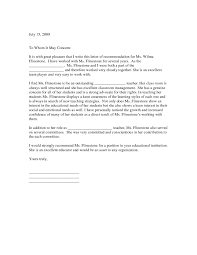 How To Format A Letter Of Recommendation For A Student Example Letter Recommendation Teacher Of Format For Student