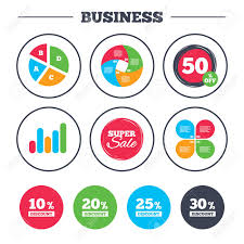 Business Pie Chart Growth Graph Sale Discount Icons Special