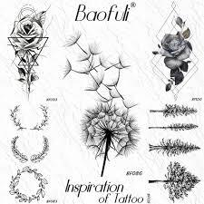Baofuli černá Pampeliška Dočasné Tetování Růže Věnec Geometrické