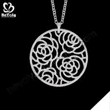 round flower engraved meaning eternal love pendants necklace