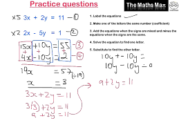 pretty solving simultaneous equations by elimination practice questions matrix full size