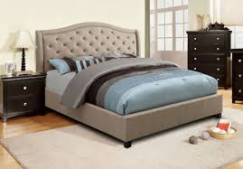 tufted upholstered beds. Taupe Fabric Tufted Upholstered Bed Frame - CA7161F Beds