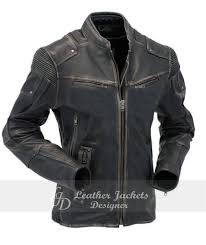 grey shiny racer fashionable zip pocket durable leather jacket front view