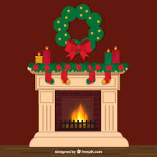 Lovely chimney with christmas decoration Free Vector