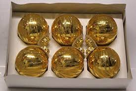 6er Set Christbaumkugeln Gold Glänzend Mit Glitter