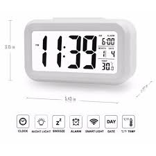 morning alarm clock with calendar thermometer large display smartnight soft light snooze sleep white lcd backlight