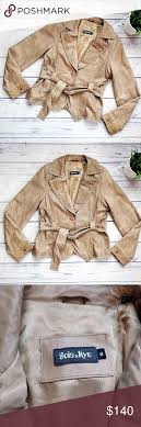 Soia And Kyo Tan Belted Leather Jacket 38 This Is A