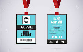 Lanyard Badge Design Event Guest Id Card Set With Lanyard Vector Design And Text