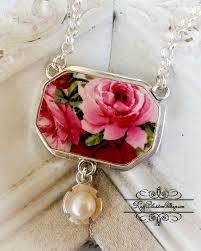 sold pink red roses broken china jewelry pendant necklace pearl drop
