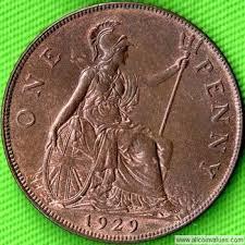 1929 Uk Penny Value George V