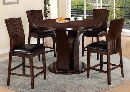 espresso round dining table espresso counter height round dining room table w 4 counter height ciara