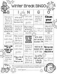 printable winter break homework editable winter breaks  winter break homework bingo for first grade this simple single page has activities for winter