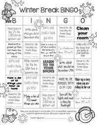 printable winter break homework editable winter breaks  winter break homework bingo for first grade this simple single page has activities for winter
