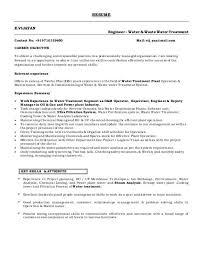 Water Treatment Plant Operator Resume Objective Fresh Capture