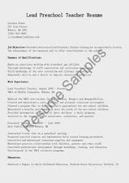 Preschool Teacher Resume Sample Teaching Cover Letter Elementary