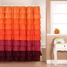 lavish home  in ruffle shower curtain with buttonhole in orange