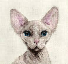 Crafts KITTEN ~ Full counted cross stitch kit <b>SIAMESE CAT</b> All ...