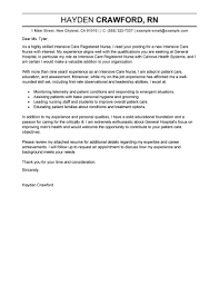 Nursing Cover Letter Samples Cute Writing About Best Intensive Care
