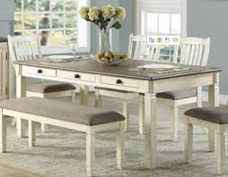 Home Elegance Willow Bend White Brown 6 Drawers Dining Table The