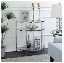 modern half moon console table sofa accent glass entryway hall small chrome new