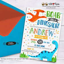 Dinosaur Birthday Invitation Dinosaur Birthday Invitation T Rex Birthday Invitations Printable Watercolors Birthday Invitations Dino Mite Invite