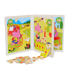 How To Make Wooden Games Wooden puzzle book cartoon animal make up children 's development 91
