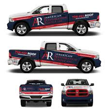 American Restoration Lights Out Bold Modern Roofing Car Wrap Design For American