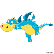 cartoon flying dragon design for children s coloring book