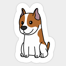 Cute Cartoon American Staffordshire Terrier