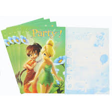 Tinkerbell Invitation 5 Disney Tinkerbell Invitation Cards With Envelopes Invitations At The Works