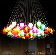 modern crystal chandelier colorful glass ball led pendant lamp for dining room living room bar g4 led bulb ac 85 265v globe pendant lighting multi pendant