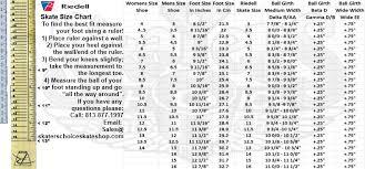Speed Skate Size Chart Roller Skate Size Chart