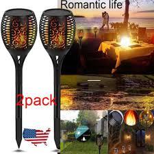 <b>2 Pack</b> 96 LED Waterproof Flickering <b>Flame Solar</b> Torch Light ...