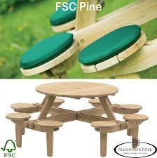 alexander rose pine fsc 100 gleneagles round 8 seater picnic table
