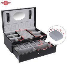mens jewelry box men jewelry box leather organizer storage 6 watch black case lockable mirror new