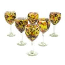 polka dot wine glasses blown glass amber fantasy set of 6 frosted stemless polka dot wine glasses