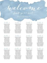 Ophelia S Seating Chart Dusty Blue Watercolor Wedding Seating Chart Template Diy