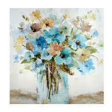 on canvas wall art blue flowers with 40 blue flowers in vase canvas wall art christmas tree shops andthat