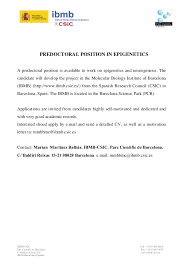 Best Ideas Of Predoctoral Position In Epigenetics Barcelona