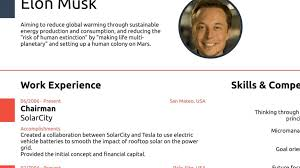 Elon Musk Resume New Elon Musk Proves You Never Need A CV Longer Than One Page
