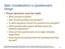Considerations When Designing A Questionnaire Chapter 11 Questionnaire Design Ppt Download