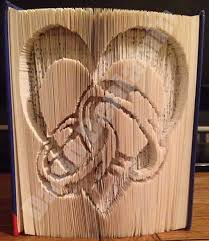 heart with rings cut fold book folding pattern