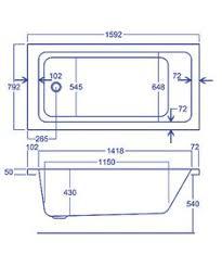 carron quantum single ended 5mm acrylic bath 1600 x 800mm