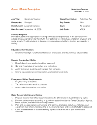 Substitute Teacher Resume Job Description Substitute Teacher Resume Job Description Resume For Study 1