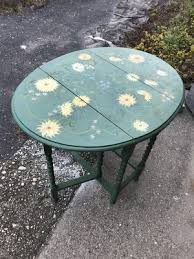 hand painted wooden drop leaf table