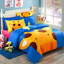 giraffe print bedding orange blue and brown cartoon giraffe print jungle safari animal kids and teen giraffe print bedding