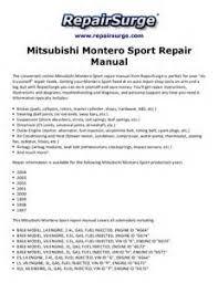 2000 mitsubishi montero sport wiring diagram images diagram of mitsubishi montero sport maintenance repair manuals