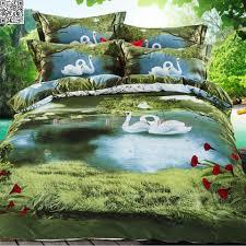 100 cotton nature 3d bedding set flowers swans bed linen duvet cover bed sheet full queen size patterns realistic high d duvet covers for queen